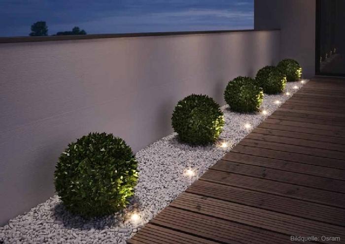 LED-Außenleuchten sind im Garten, auf dem Balkon oder der Terrasse einsetzbar.